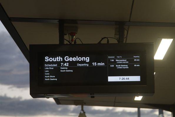 Next train displays now working at the new RRL stations
