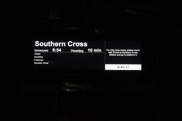 V/Line encouraging citybound passengers to change for the City Loop at Southern Cross Station