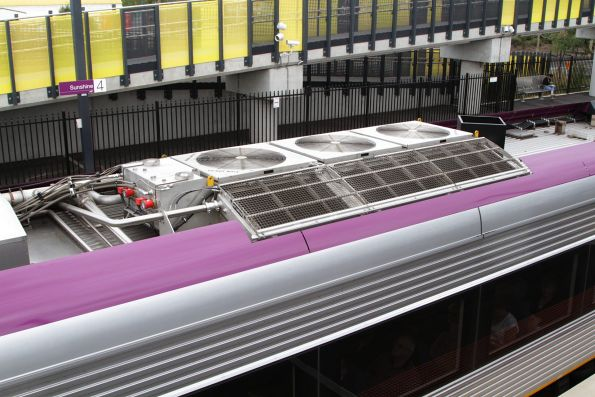 Shiny and new radiator unit atop newly built VLocity carriage 1306
