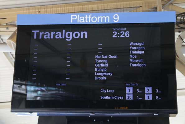 Traralgon service displayed on the screens at Flinders Street Station