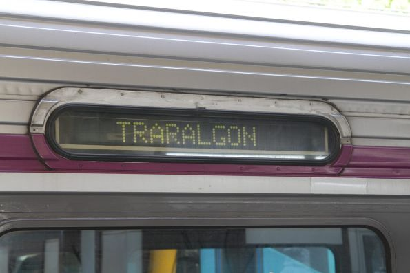 'Traralgon' displayed on the destination board of a Sprinter train