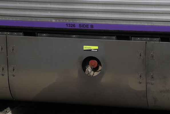 'BP Ultimate Diesel' sticker above the fuel inlet of a VLocity railcar