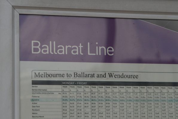 Ballarat line timetable with 'Melbourne to Ballarat and Wendouree' taped over the previous text