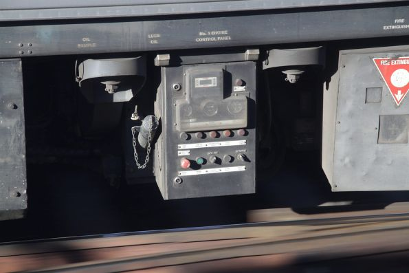 Engine control panel on the underframe of a Sprinter DMU