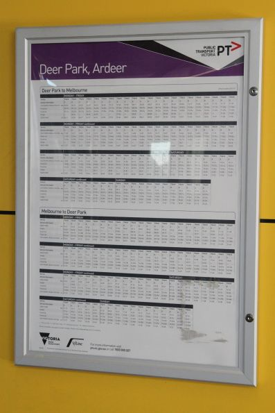 Dedicated V/Line timetable for Deer Park and Ardeer passengers at Sunshine station
