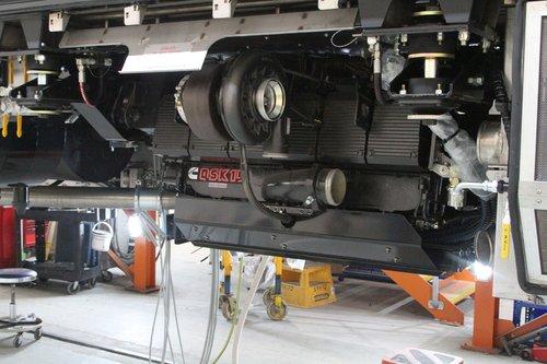 Cummins QSK19-R main engine horizontally mounted beneath a VLocity railcar