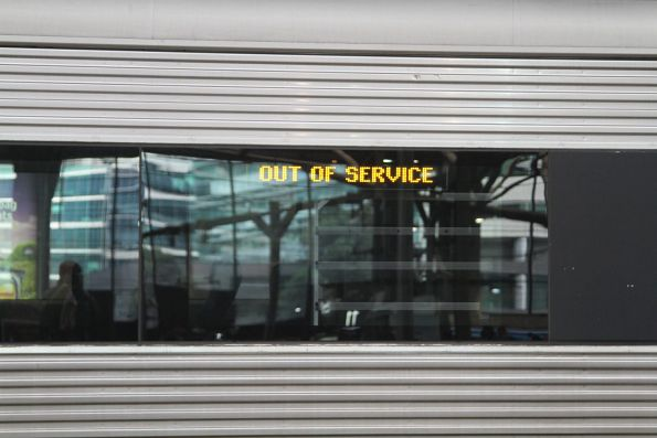 'Out of service' displayed on the destination screen of a VLocity train