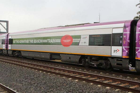 V/Line football train promotion on the side of VLocity carriage 1371