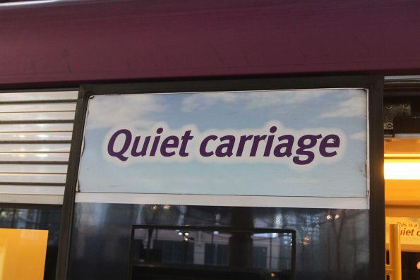 'Quiet carriage' signage outside a VLocity train set
