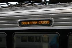 'Southern Cross' on the upgraded LED destination board of Sprinter 7012