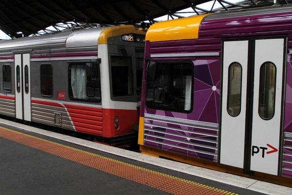 Sprinter 7012 freshly repainted into PTV livery coupled to V/Line Mk3 liveried Sprinter 7021