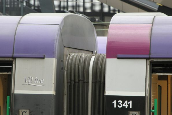 PTV purple coloured panel on VLocity carriage 1341