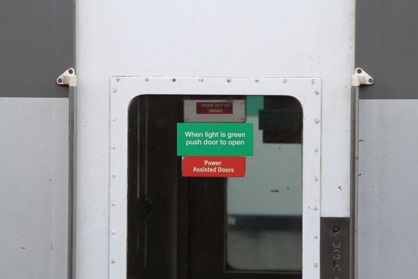 'Door out of order' sign deployed on a BZN carriage