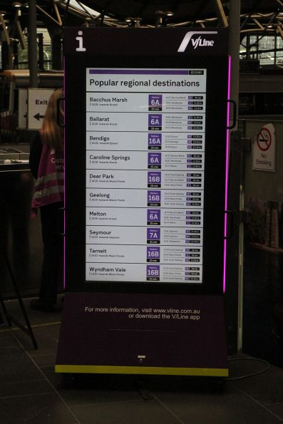 'Popular regional destinations' departure board at Southern Cross Station
