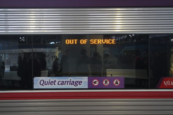 'Out of service' on a VLocity train destination board