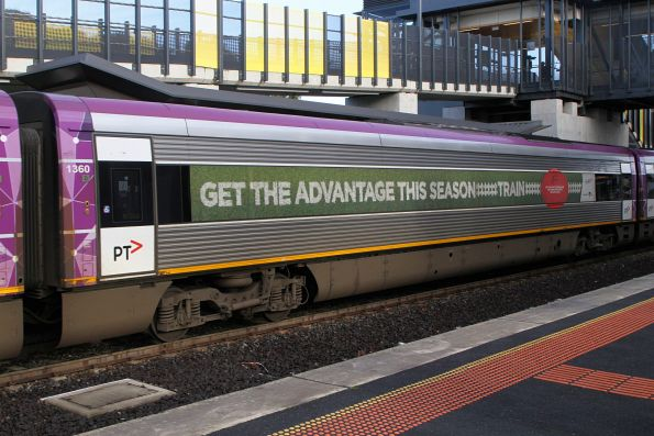 VLocity carriage 1360 advertising V/Line football trains