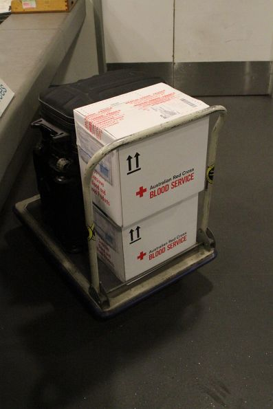 Red Cross Blood Service boxes awaiting pickup at the Southern Cross luggage hall