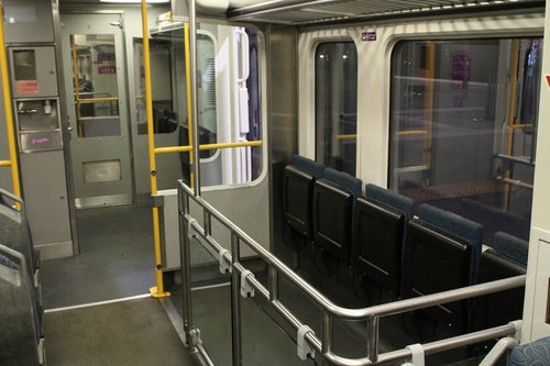 Fenced in luggage area onboard a Sprinter train