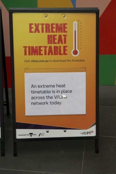 'Extreme heat timetable' poster at Southern Cross Station