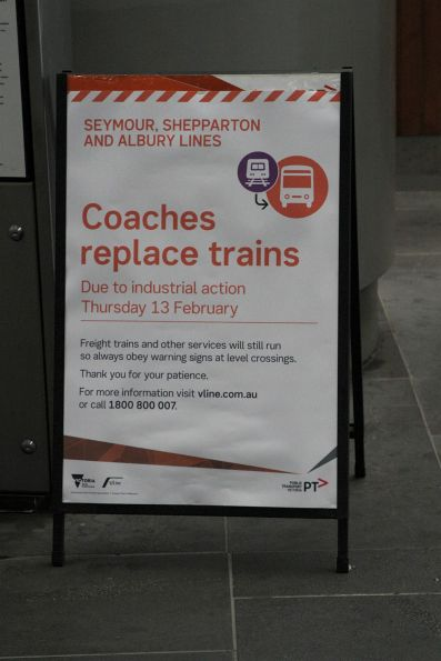 'No trains running due to industrial action' sign for the Seymour, Shepparton and Albury lines on Thursday 13 February 2020