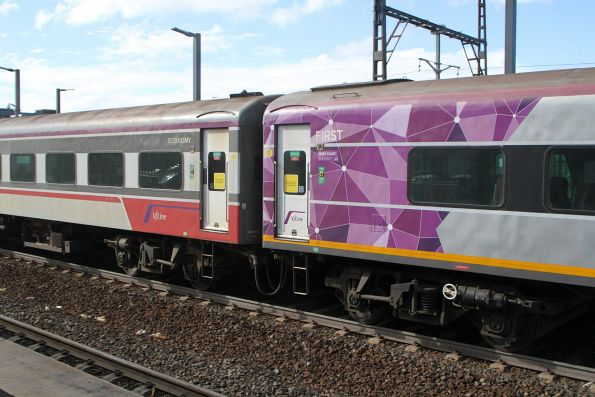 PTV liveried carriage ACN57 in the consist of otherwise V/Line Mk3 liveried carriage set FN6