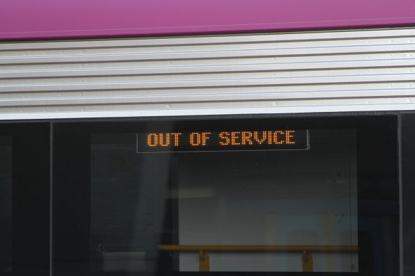 'Out of service' message on a VLocity train