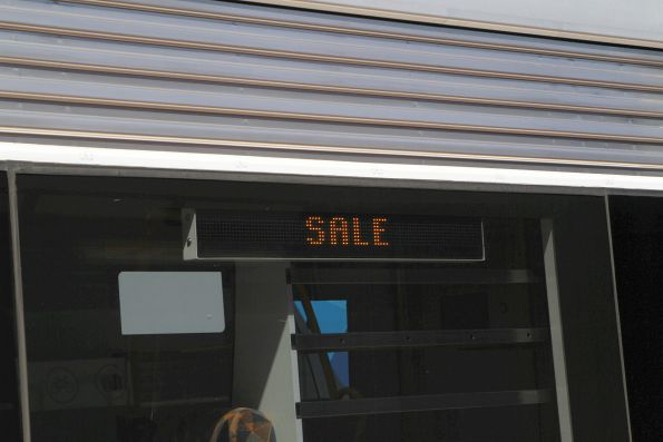 'Sale' on the external destination board of a VLocity train