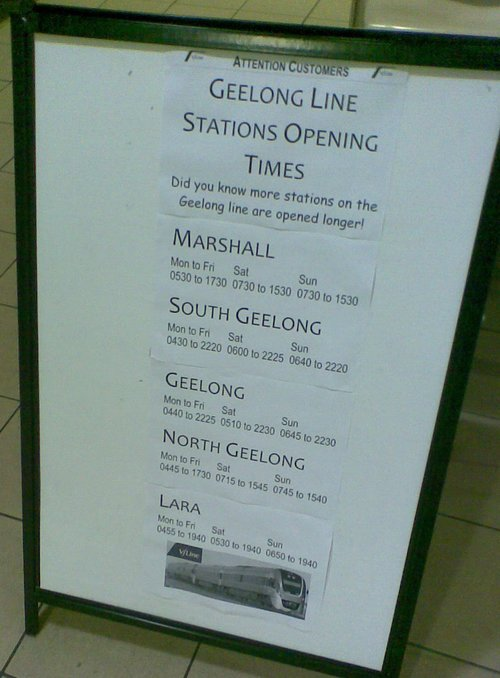 Sign at South Geelong promoting extended opening hours at Geelong line stations - June 2009