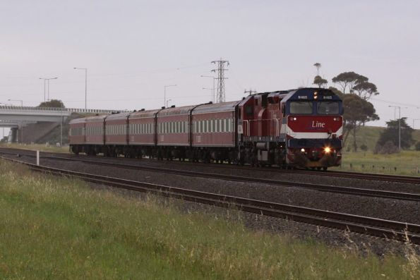 N465 heads the V/Line 'heritage set' at Corio