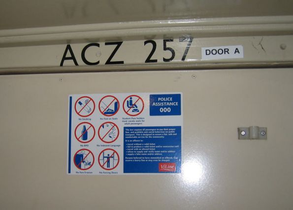 Carriage numbers above the door of ACZ257