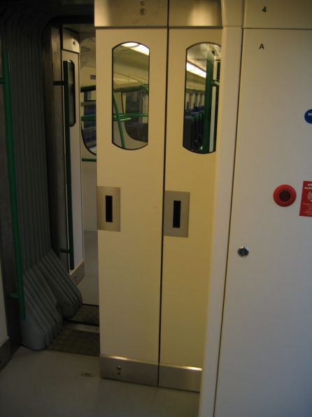 Unlocked intercarriage doors onboard a VLocity train