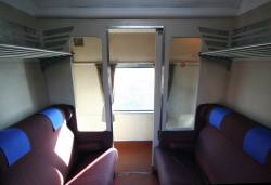 1950s-era BS carriage: corridor side of a compartment