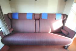 1950s-era BS carriage: bench seat with 1980s-era V/Line seat fabric
