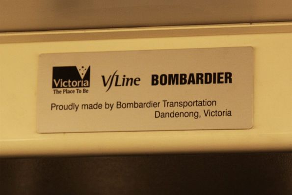 State of Victoria, V/Line and Bombardier badge inside a VLocity