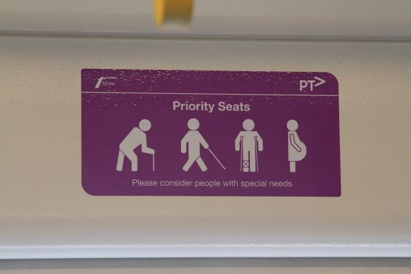 Priority seating signage onboard a VLocity carriage