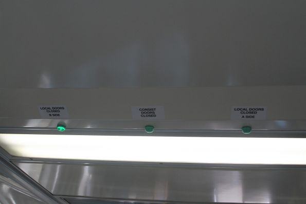 Trio of indicator lights onboard a H set for the power door system