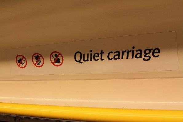 'Quiet carriage' signage inside a VLocity train set