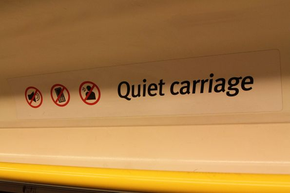 'Quiet carriage' signage inside a VLocity train set