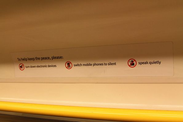 'Quiet carriage' signage onboard a VLocity train carriage