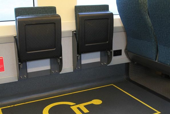 Power point in the wheelchair area of a VLocity railcar