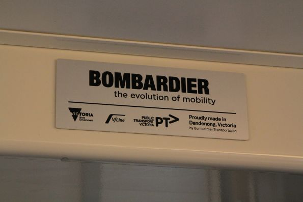 'Bombardier: the Evolution of Mobility' plate onboard VLocity VL72