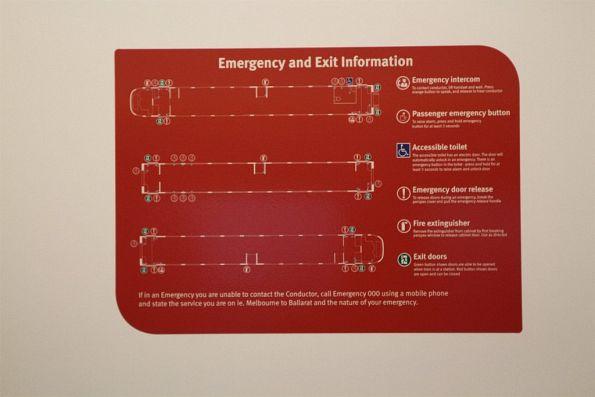 Emergency exit signage inside VLocity VL77