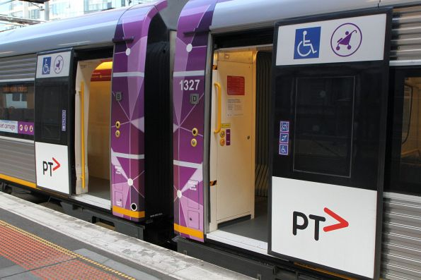 New wheelchair and pram door signage on VLocity carriage 1127 and 1327