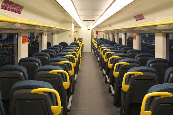 New style seating and wider aisle onboard 'short distance' VLocity carriage 1176