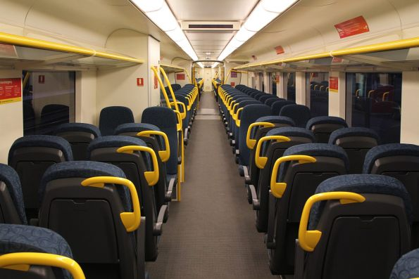 New style seating and wider aisle onboard 'short distance' VLocity carriage 1376