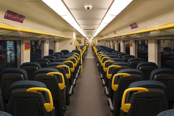 New style seating and wider aisle onboard 'short distance' VLocity carriage 1276