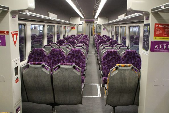 Purple PTV seating onboard refurbished Sprinter 7021