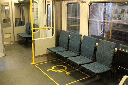 Upgraded wheelchair area onboard Sprinter 7009