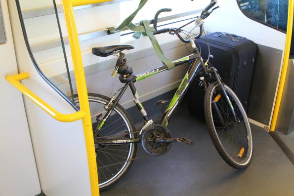 Bike stowed onboard a VLocity train