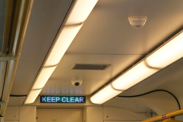 CCTV cameras in the passenger saloon of VLocity VL78